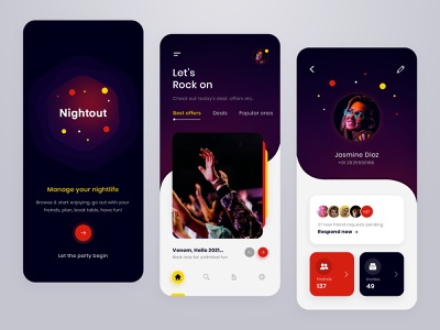 Night-out Party party mobileapp ux friends fun enjoyment design ui app nightout disco