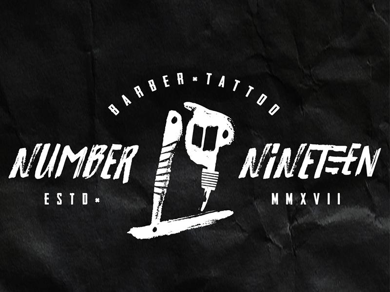 Branding No.19 - Barber tattoo shop 19 tattoo barber branding logo