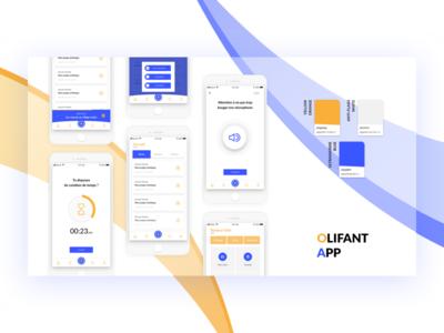Olifant App nekideva bicolors color ux ui list card mobile gradient app ios
