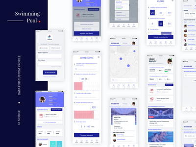 App with Open Data profil login map filters presentation app interface ux ui mobile opendata data