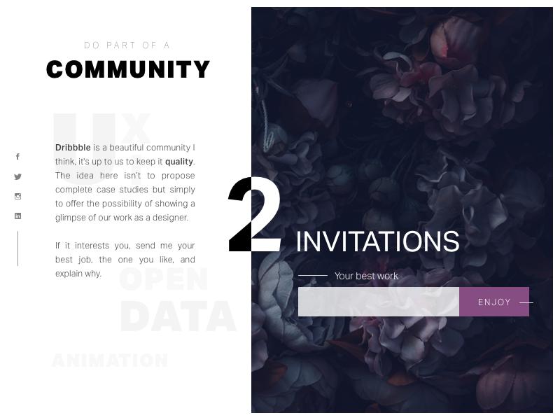 Invitation Dribbble ui ux communauty dribbble invitation