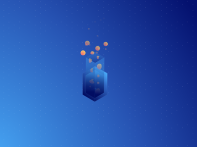 Abstract Isometric flask bubbles gradient colors isometric illustration