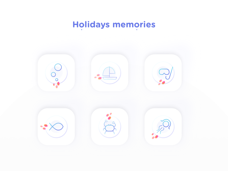 Holidays memories nekideva colors gradient linear summer sea ui icon artwork icon