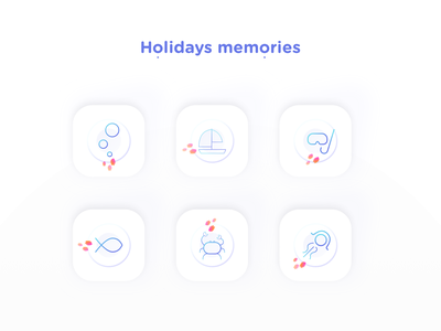 Holidays memories nekideva colors gradient linear summer sea ui icon artwork icon