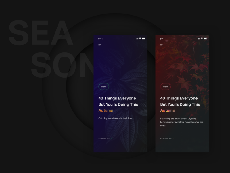 Blogging - Autumn Season nekideva app concept gradient smooth blog ui