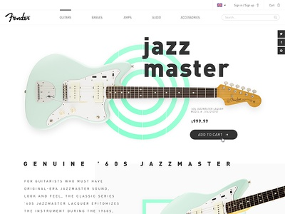 Fender Jazzmaster product page ui guitar product white clean webdesign