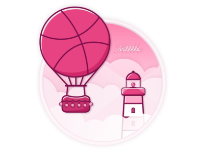 Hello Dribbble! safety freedom inspiration idea airballon lighthouse invite dribbble debut shot first