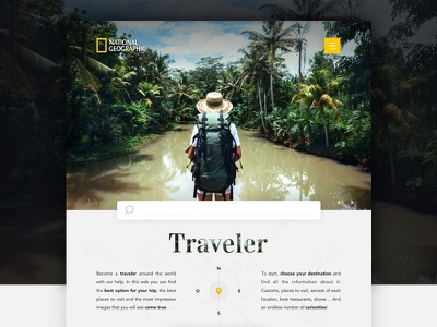 Travellers: National Geographic site landing page national geographic travel traveler trip web ui discover tourism