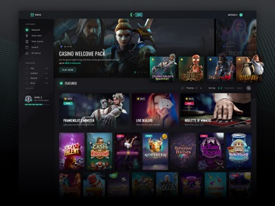 Gamer place - Casino casino gaming gambling gamer interface dark interface ui ux layout tiles filters lateral menu carrousel character categories gamification play bet betting provider