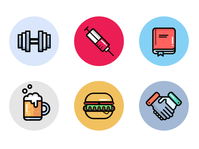 Company Benefit Icons gym workout exercise reading medicine agreement handshake lunch burger beer book needle