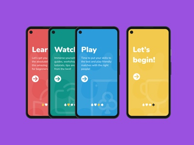 Poker App - Intro screens poker chips cards poker play poker fun colourful game design learning design ui app design app