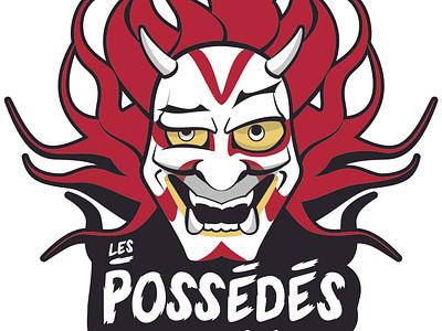 Les Possèdés improvisation improv mask kabuki logo illustration vector
