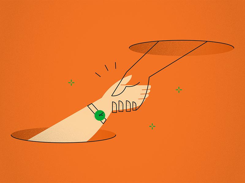 Helping hand shake vector people line flat design hands help illustration