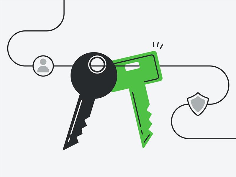 Keys hero security design vector line flat illustration lock key 2fa