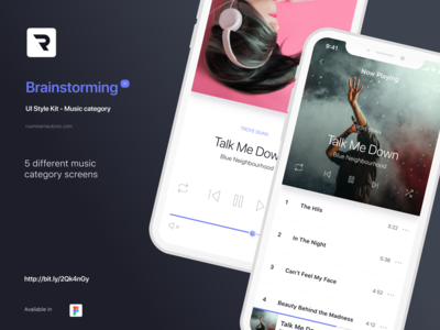 Brainstorming UI Style Kit - Music category