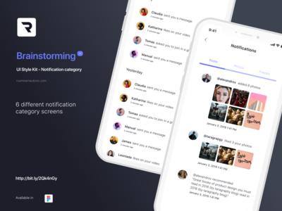 Brainstorming UI Style Kit - Notification category