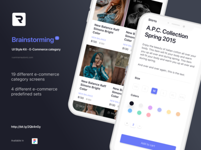 Brainstorming UI Style Kit - E-Commerce category