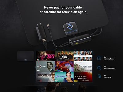 TV antenna - banner electronics promotion advertisement banner render 3d