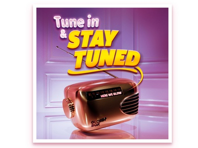 Here We Glow 3d artist radiobutton tune in pink poster