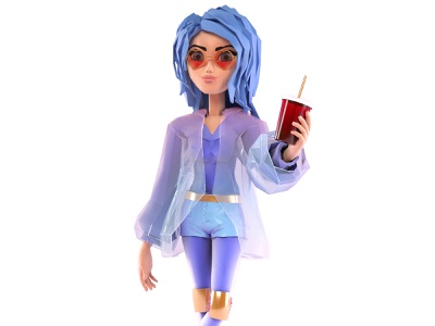 Girl - low poly corona render 3ds max modellind low poly character 3d
