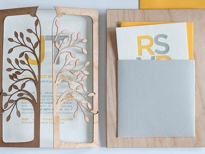 Letterpress Bar Mitzvah Invitation stationery social invitation wood laser-cut typography letterpress