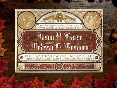Jason Carne's Wedding Invitations illustration etchings gold wedding invitation invitation three-color triplexed letterpress