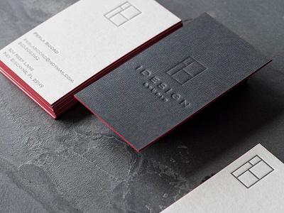 Logo Design and Stationery for Interior Designer edge painting duplexed logomark logo design logo duplex letterpress