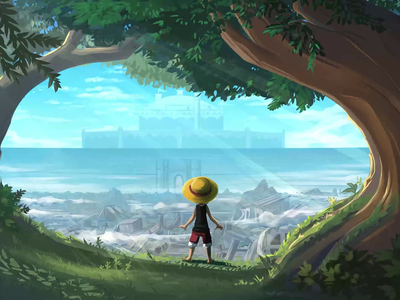 Luffy at the edge of the forest pirate luffy one piece onepiece 2d 2danimation 2d animation motiongraphics design motion graphics motion design illustration motion animation