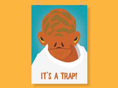 It's a trap! print wall print poster wall art orange turquoise admiral ackbar star wars