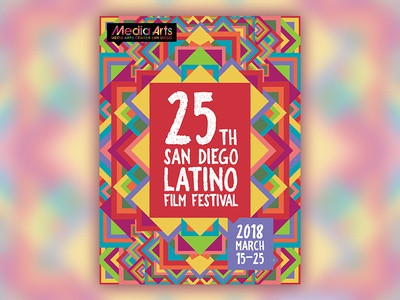 San Diego Latino Film Festival Poster wall print colorful abstract geometric film festival san diego latino film festival contest print poster