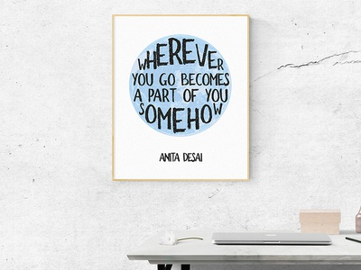 Wherever you go becomes a part of you somehow - Anita Desai poster motivational quote nomad globe wall print travel
