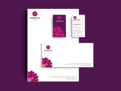 Macarena Farms stationery design geometry logo violet colombia farms flower