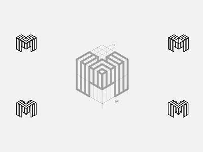 Metelair services aruba geometry grid initial letter m logo air electrocity metals