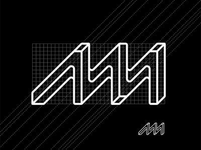 New Metal Grid turned bent tube new curve aruba smithy metal minimal logo monogram grid