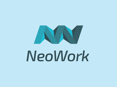 NeoWork logo w n minimallogo minimal lines logo design blue monogram letter logo