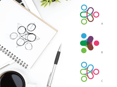 Work in progress. professional vinculation three circles curve colors people education logo