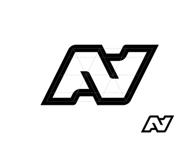 Logo grid n a letter monogram ambigram grid logo