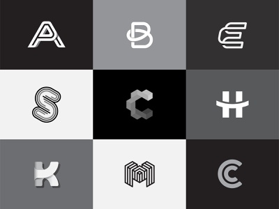 Logos brand s m k h e c b a minimal geometric initial letter logo