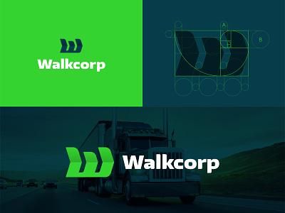 Logo design for Walkcorp golden section arrow initial grid logo grid geometric geometric design logo