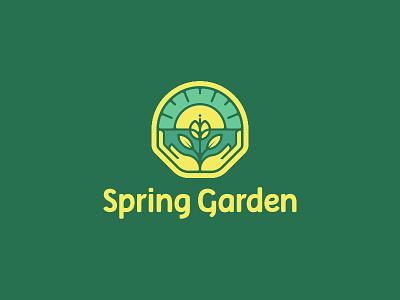 Spring Garden logodesign ecologic ecology organic sun hands brand green plant spring natural florist garden logo
