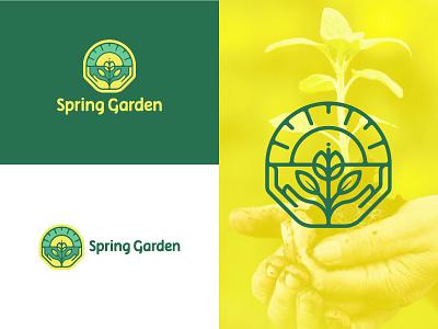 Spring Garden ecological ecology organic yellow green hand sun natural illustration logo geometric spring garden