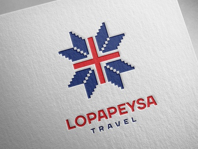 Lopapeysa   lopapeysa logo knitting red blue travel iceland
