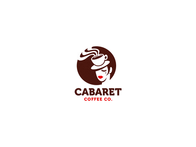 Cabaret Coffee movie coffee girl logo cafe