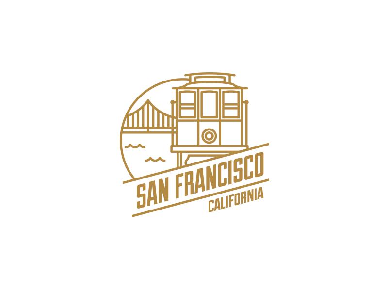 San Francisco sf tram icon logo san francisco logo san francisco retro flat city badge