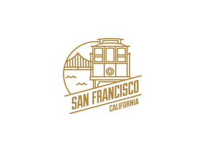 San Francisco sf tram icon logo san francisco logo san francisco retro flat city badge