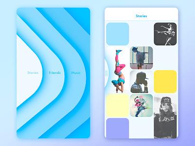 dance network ui concept swipe grid side menu dance waves menu feed cards blue application