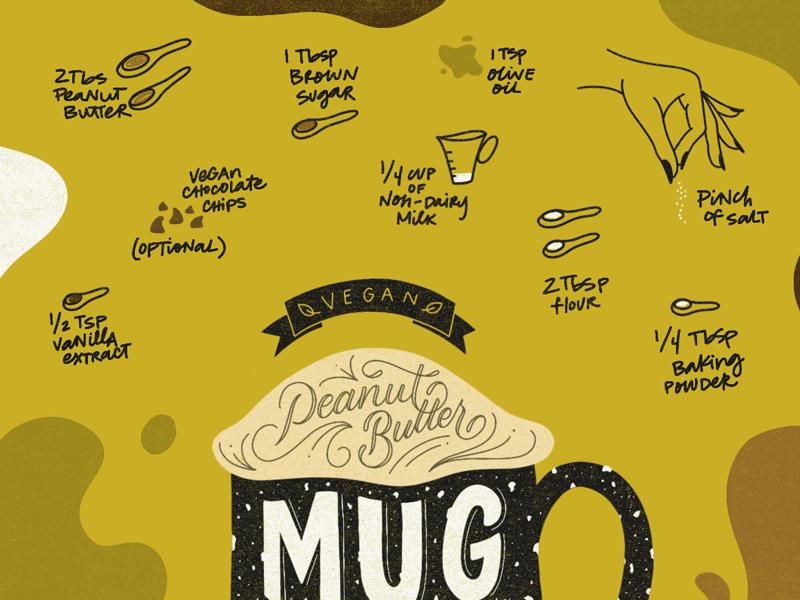 Mug Cake Recipe hand drawn recipe vegan illustration lettering