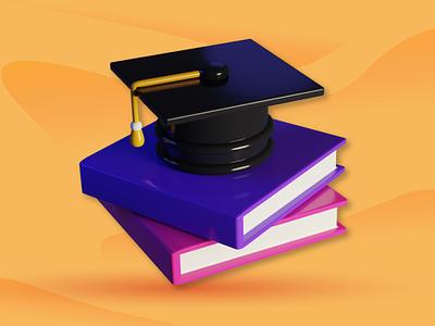 3D Icon educations 3dmodel logo education logo education lowpoly blender 3d animation branding icon 3d design illustration