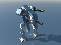 Illustration of a Mechwarrior robot low poly 3D