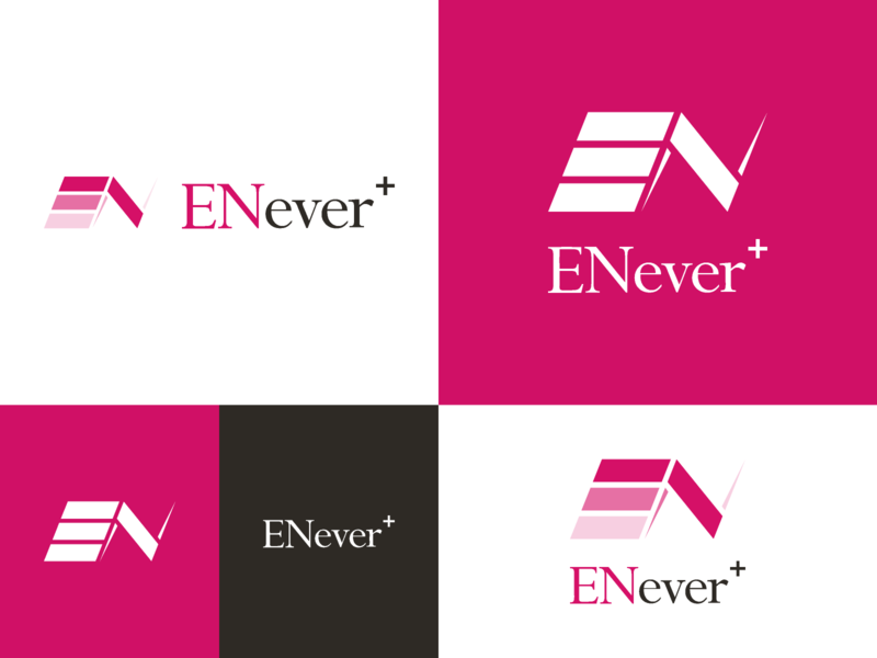 ENever+ Logo design icon design mark symbol logo branding brand identity typography